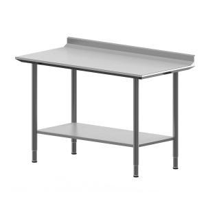 Hygienic Design Arbeitstisch mit Aufkantung, Fachboden