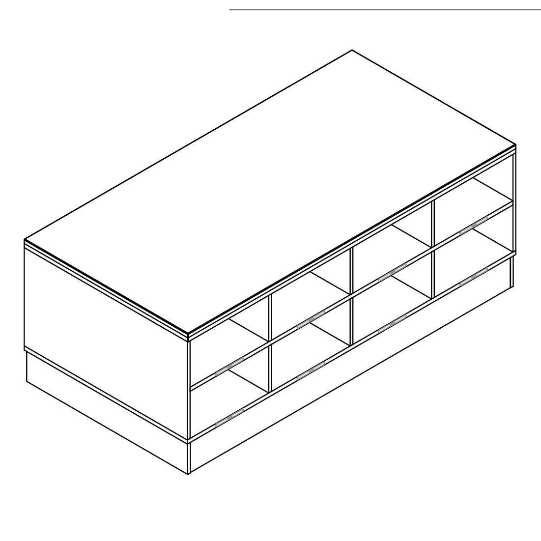 Sit-Over-Bank HPL mit beidseitigen Schuhfächern (2 Ebenen), ArtNr.: HPL_SOB_BS2R