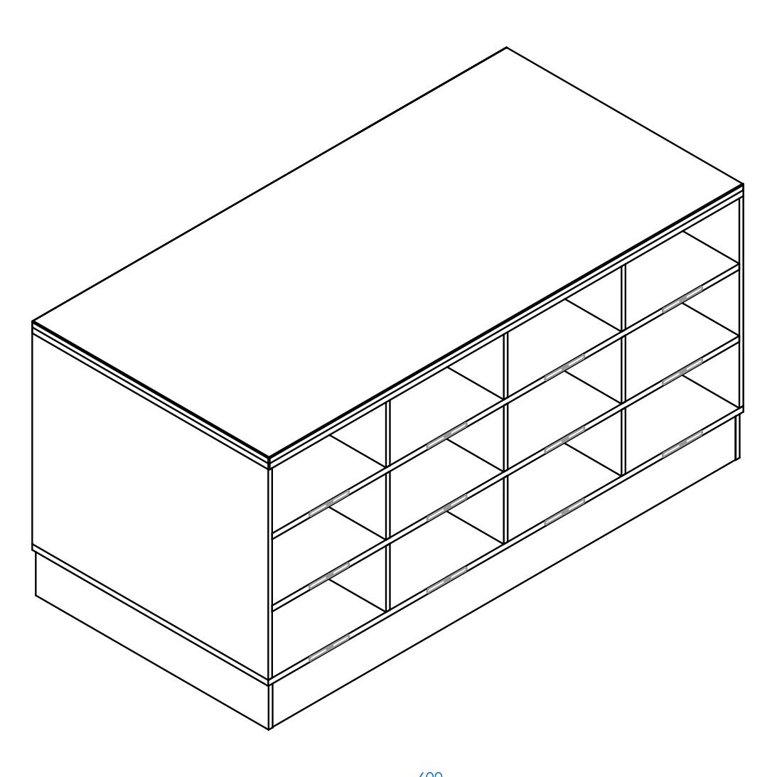 Sit-Over-Bank HPL mit beidseitigen Schuhfächern (3 Ebenen), ArtNr.: HPL_SOB_BS3R