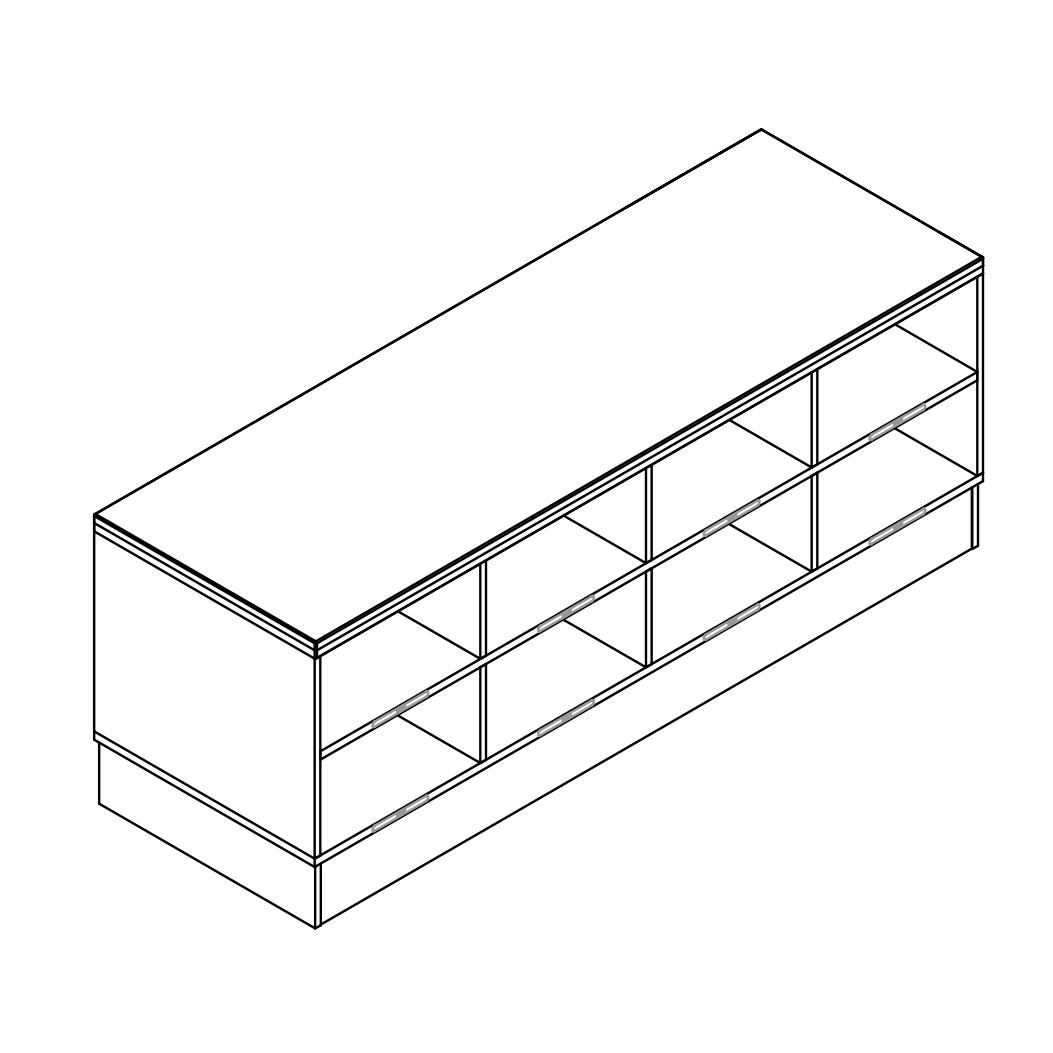 Sit-Over-Bank HPL mit einseitigen Schuhfächern (2 Ebenen), ArtNr.: HPL_SOB_ES2R