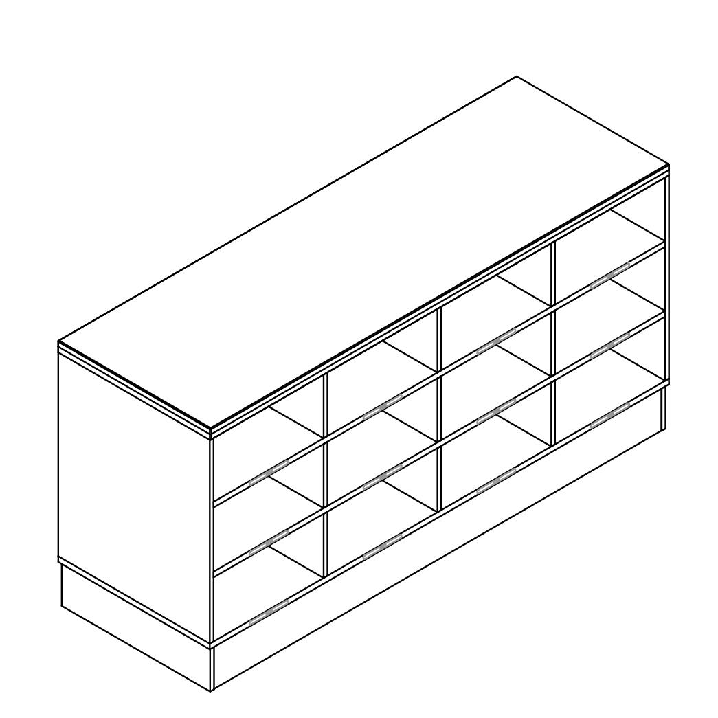 Sit-Over-Bank HPL mit einseitigen Schuhfächern (3 Ebenen), ArtNr.: HPL_SOB_ES3R