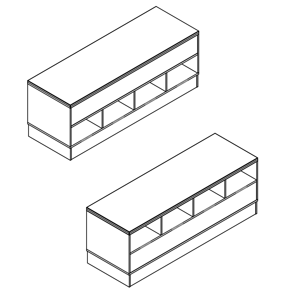 Sit-Over-Bank HPL mit wechselseitigen Schuhfächern, ArtNr.: HPL_SOB_WS2R