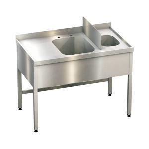 Kombispüle 1 Spülbecken, 1 Handwaschbecken, mit Trennwand, ArtNr.: KBS_12